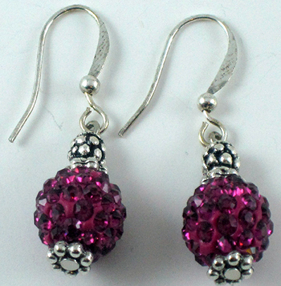 Magenta Crystal Earrings